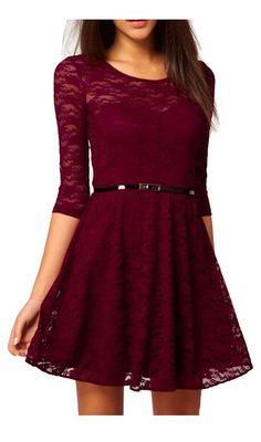 75de4ab9fa6f UUstar® Sexy Rahmen -Ausschnitt Minikleid Manches 3 4 longues Gürtel  Elegant Cocktailparty Kleid