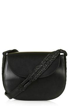 Topshop Woven Strap Leather Saddle Bag