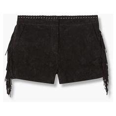 MANGO Fringe Suede Shorts (£62) ❤ liked on Polyvore featuring shorts, suede fringe shorts, draw string shorts, metallic shorts, embellished shorts and mango shorts