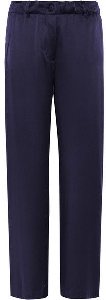 Elizabeth and James - Gavin Silk-satin Wide-leg Pants - Navy