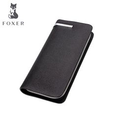 Foxer Brand  Genuine Leather Men Wallets New Man Wallet Men Purse Fashion Male Long Wallet Man's Clutch Bag