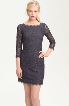 Grey Lace Sheath Dress.