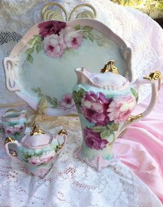 Victorian Style Hand-painted Tea Set with matching Teapot, Sugar Basin & Cake Plate ~ Vintage Dishes, Vintage China, Antique China, Vintage Teacups, Tea Cup Saucer, Tea Cups, Teapots And Cups, Tea Service, My Cup Of Tea