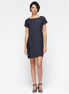 Bateau Neck Knee-Length Dress in Washed Linen Delave. This dress may not look like much but it is an extremely comfy fabric and fab fit. Simple chic. Dress up or down. Size: XS