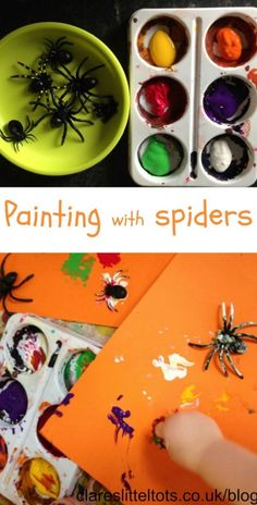Painting with spiders. Mark making messy Halloween fun for toddlers and preschoolers.
