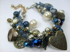 Blue and Brass Handmade Charm Bracelet. Makes a very charming gift!