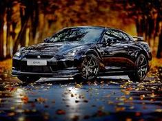 Nissan Skyline GT-R - wonderful black car and Autumn season Nissan Skyline Gt, Skyline Gtr, Nissan Gtr R35, Nissan Gtr Black Edition, Godzilla, Japanese Sports Cars, Sports Car Wallpaper, Bmw Wallpapers, Car Backgrounds