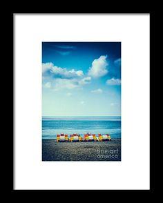 Four Pedal Boats Framed Print by Silvia Ganora - #prints #sea #seascape