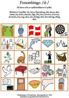 Ugens pin (fonembingo /k-/) Danish Language, Some Beautiful Images, Cooperative Learning, Speech Therapy, Runes, Denmark, Bingo, Kindergarten, Preschool
