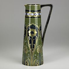 """WILLIAM MOORCROFT; ; MacINTYRE;  Fine and tall pitcher, England,1903; Brown MacIntyre stamp, green signature; 14"""" x 6 3/4"""""""