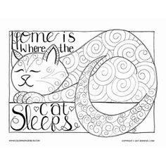 """Home is Where the Cat Sleeps"" is inspired by my sweet kitty Meeshka, this coloring page is dedicated to our wonderful, sleepy furry cat friends who find the most interesting and charming places to sleep around the home. I love it when Meeshka wraps his tail around his body during his naps. Premium Coloring Page (017-PW-D001)…"