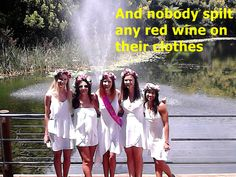 These lovely ladies all in white recently had a fantastic day out tasting wines with Cork 'n Fork Tours. I was very concerned at the start of the day seeing all the white outfits. Red wine and white clothing is not a really good match, but there are ways to fix this.  Ladies, and gents for that matter, if you ever spill red wine on your outfit, quickly get some soda water and shake the bottle, squirt the contents over the red wine and leave, yes you will be wet but the wine w
