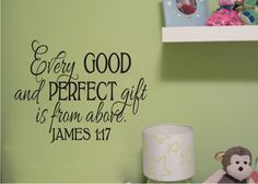 """Bible Scripture Verse Name decal scripture Child James 1 17 Vinyl Decal Every Good and Perfect Gift-17"""" x 22"""""""