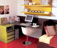 COMPACT 9006 - Solid wood desk / contemporary / child's / with shelf by Dear snc dei F. Kids Writing Desk, Writing Desk With Drawers, Kids Corner Desk, Kid Desk, Bureau Design, Chester Drawers, Solid Wood Desk, Teen Bedroom, Bedroom Ideas