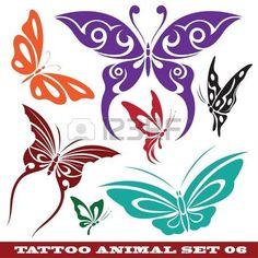 Vorlagen schmetterling Tattoo und Design zu verschiedenen Themen  Lizenzfreie Bilder