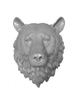 Gray Bear Head Faux Resin Green Bear Head Faux Taxidermy Fake Animal Head Wall Mount