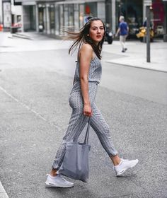 Jumpsuit, grey Overall by Zara w/ white AirMax Thea @fithealthydi
