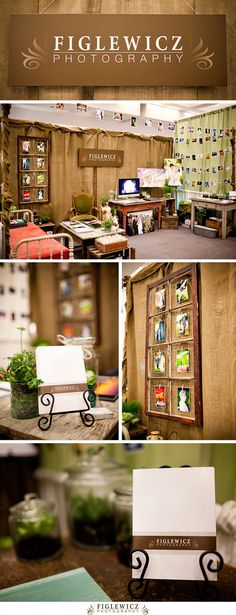 Love how cozy this booth is.    Love how she uses the photos on a string and puts her cards on an easel!