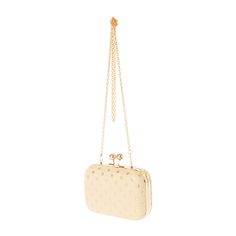 """<P>Polka dots give you a glam look with this clutch. Metallic gold polka dots accent the cream colored clutch. Includes a detachable gold chain that can be tucked inside or worn on your shoulder.</P><UL><LI>Faux leather/Gold metal finish<LI>Kiss lock closure<LI>Detachable gold chain<LI>4""""H x 6""""W x 2""""D / 10cm x 15cm x 5cm<LI><B>This item is not available for our customers in California. If purchased, this item will be removed from your order.</B> </LI></UL>"""