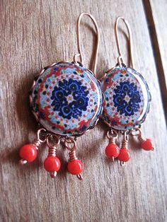 Statement earrings Mexican jewelry Folk art by ShrunkenCatHeads, $36.00