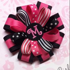 Black & hot pink stacked hair bow!