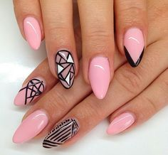 #uñas #nails #rosa #pink #black