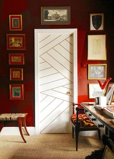 Eye-Catching Bold Doors - white door, gold nail heads, in a geometric pattern, create a glamorous touch