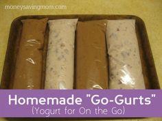 Homemade Go-Gurts: Yogurt on the go at just $.09 apiece! frozen yogurt, crockpot yogurt, homemade recipe, homemad gogurt, homemade yogurt, yogurt recipes, freezer pops, snack bags, homemad yogurt