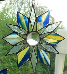 Hand-made-stained-glass-light-catcher-with-a-faceted-glass-crystal-in-centre