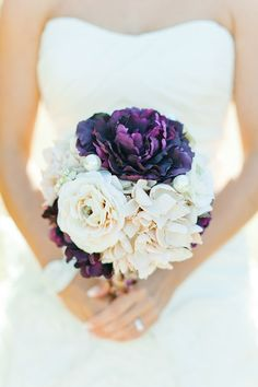 Purple Wedding Inspiration Bouquet, love the big pearl