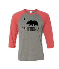 California Bear - Unisex Baseball Tee - Red  http://mbcali.com/product/california-bear-unisex-baseball-tee-red/ 15.79