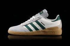 """adidas Busenitz Drops in a Retro """"Core Green"""" Colorway: With a gum sole. Puma Sneakers, Casual Sneakers, Adidas Sneakers, Adidas Ads, Adidas Busenitz, Air Jordan Retro, Snicker Shoes, Mens Fashion Shoes, Shoes Men"""