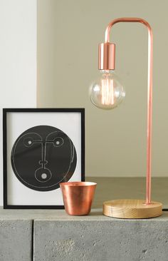 Beacon Lighting   Lanie 1 Light Modern Table Lamp In Copper With Ashwood  Base