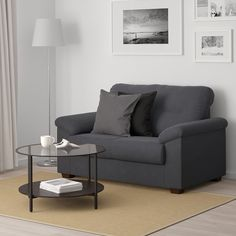 IKEA - KNISLINGE, Sofa, Samsta dark gray, The high back provides good support for your neck. Durable, easy care microfiber cover with a soft suede feel. High-resilience foam and polyester in the seat cushion for great sitting comfort. Living Room Furniture, Home Furniture, Living Room Decor, Kitchen Furniture, Grey And Brown Living Room, Canapé Design, Gray Sofa, Gray Bedroom, Baby Room Decor