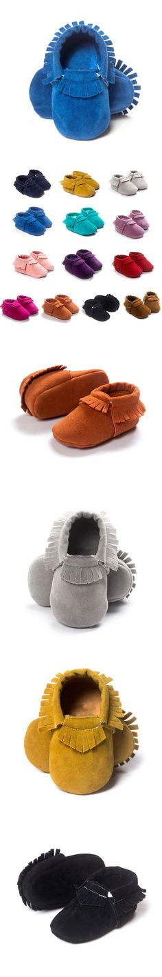 Tassel Newborn Shoes Baby Boy Girl Soft Soled Non-slip Crib Shoes Infant PU Suede Leather Moccasins Sales $3.16