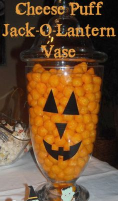 Cheese Puff Jack-o-lantern Vase - so easy and fun