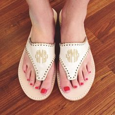 Gold Monogram Palm Beach Sandals are a must this summer!