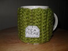 Crocheted mug cozy or cup cozy in apple by TheLeftHandedHooker, $12.50