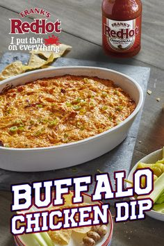 Dip it. Dip it real good. This robust, creamy Frank's RedHot Buffalo Chicken Dip recipe tastes like Buffalo Chicken Wings without the mess! Serve hot with celery sticks or veggies at your next football party.