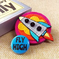 Felt Rocket Brooch with Gift Box and Badge