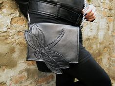 Dragonfly bag with chain strap, Black Faux leather bag, Black dragonfly purse…
