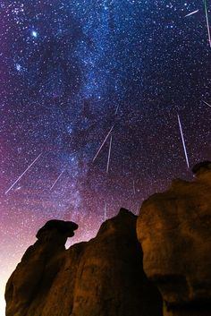 Gemind Meteor Shower by Matt Payne on 500px. It must be awesome to be able to watch this first hand, but I wouldn't want one of those meteors falling on my head, or anywhere near me for that matter.