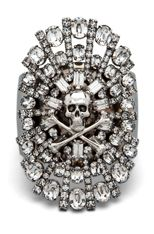 #WANT - TOM BINNS  Parure Crystal Skull and Crossbones Cuff in White