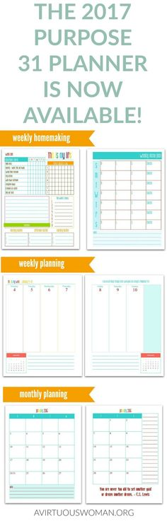 The Purpose 31 Planner is the ULTIMATE planner for Christian women! You've got to check out this amazing planner. It's perfect busy moms!!! ------------> Homemaking, weekly planning, monthly planning, menu planning, and so much more!