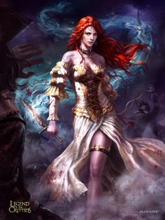 games fantasy characters woman legend of the cryptids red hair dress Fantasy Comics, Fantasy Rpg, Fantasy Women, Anime Fantasy, Fantasy Girl, Fantasy Artwork, Dark Fantasy, Beltane, Fantasy Characters
