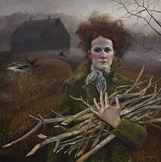 she's gathering up the wood that will kindle a fire - Andrea Kowch's Haunting Paintings of Rural Life   Hi-Fructose Magazine