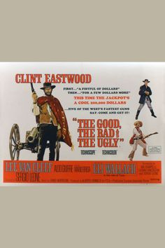 "In the third film of Sergio Leone's ""Spaghetti Western"" trilogy, Clint Eastwood, is the Good, who teams up with Lee Van Cleef, the Bad, and Eli Wallach, the Ugly. This violent epic set against the Civil War follows the desperate men as they look for a buried treasure of gold. The fantastic score, including the memorable theme, was composed by Ennio Morricone. This British quad had pinholes in the corners and borders, crossfold separations, tape stains on the reverse, a missing corner in the…"