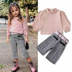 Get her ready for any gatherings or family reunions. This toddler outfit features a design that is perfect for getting your little girl all dressed up for special occasions. Little Girl Outfits, Toddler Outfits, Pink Kids, Plaid Pants, Toddler Fashion, Spring Collection, Outfit Sets, Cute Dresses, Dress Up