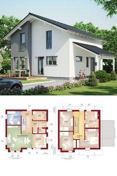 Einfamilienhaus mit Satteldach - Haus Evolution 136 V7 Bien Zenker - Fertighaus Grundriss mit offener Wohnküche - HausbauDirekt.de