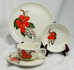 Vintage cherry dishes hard to find W. S. George breakfast nook dishes cherries and blossoms cottage chic dishes on Etsy, $25.00